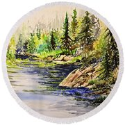 Plein Air At Nutimik Lake In Manitoba Round Beach Towel