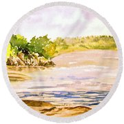 Plein Air At Pine Falls Manitoba Round Beach Towel