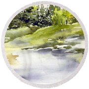 Plein Air At The Pond At Nutimik  Round Beach Towel