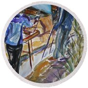 Plein Air Painters - Original Watercolor Round Beach Towel
