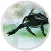 Plesiosaurus Round Beach Towel by William Francis Phillipps
