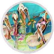 Plethora Of Pelicans Round Beach Towel
