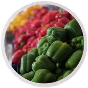 Plethora Of Peppers Round Beach Towel