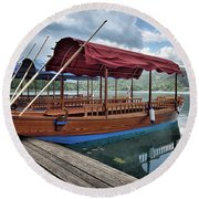 Pletna Boats Of Lake Bled Round Beach Towel