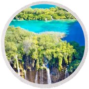 Plitvice Lakes National Park Vertical View Round Beach Towel