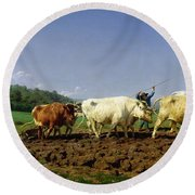 Ploughing In Nivernais Round Beach Towel