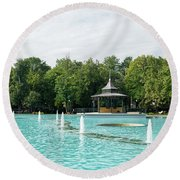Plovdiv Singing Fountains - Bright Aquamarine Water Dancing Jets And Music Round Beach Towel