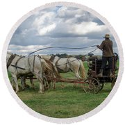 Plowing In Lancaster County Round Beach Towel