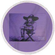 Plum Cowgirl Round Beach Towel