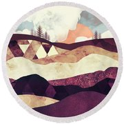 Plum Fields Round Beach Towel