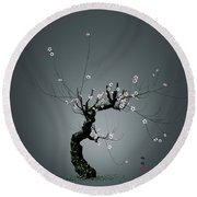Plum Flower 0204 Round Beach Towel