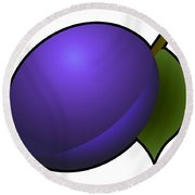 Plum Fruit Outlined Round Beach Towel