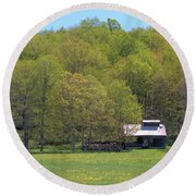 Plum Hollow Sugar Shack In Spring Round Beach Towel
