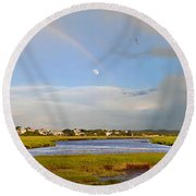 Plum Island Rainbow Round Beach Towel
