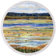 Plum Island Salt Marsh Round Beach Towel