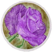 Plum Passion Rose Round Beach Towel