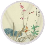 Plum Pine Orchid Round Beach Towel