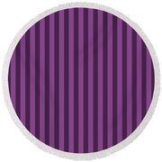 Plum Purple Striped Pattern Design Round Beach Towel