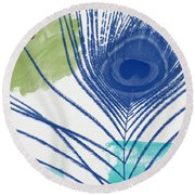 Plumage 3- Art By Linda Woods Round Beach Towel