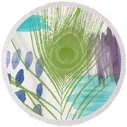 Plumage 4- Art By Linda Woods Round Beach Towel by Linda Woods