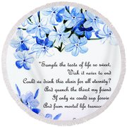 Plumbago   Poem Round Beach Towel