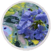Plumbago Flowers Round Beach Towel