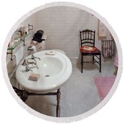 Plumber - The Bathroom  Round Beach Towel