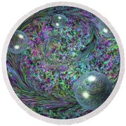 Plume And Bubbles Round Beach Towel