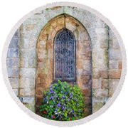 Plumergat, Brittany,france, Parish Church Window Round Beach Towel