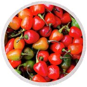 Plump Red Peppers Photo Stock Round Beach Towel