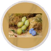 Plums And A Rose Hip On A Mossy Bank Round Beach Towel