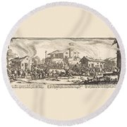 Plundering And Burning A Village Round Beach Towel