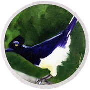 Plush Crested Jay Round Beach Towel