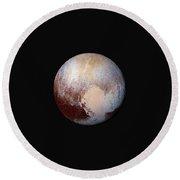 Pluto Dazzles In False Color Round Beach Towel