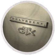 Plymouth Belvedere Gtx Fender Emblem Badge Round Beach Towel