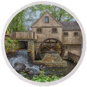 Plymouth Grist Mill Round Beach Towel