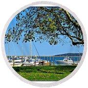 Plymouth Harbor Round Beach Towel
