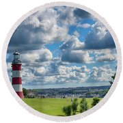 Plymouth Hoe And Smeatons Tower Round Beach Towel