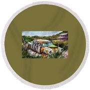 Plymouth On The Rocks Round Beach Towel