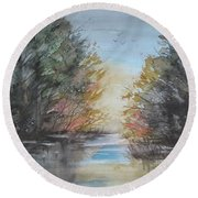 Pm River Sunset Round Beach Towel