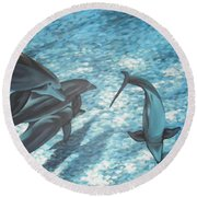 Pod Of Dolphins Round Beach Towel