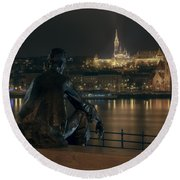 Poet On The Danube Round Beach Towel