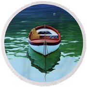 Coastal Wall Art, Poetic Light, Fishing Boat Paintings Round Beach Towel