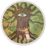 Poetry And Precious Moments Of Bliss. Round Beach Towel