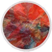 Poinsettia Abstract Round Beach Towel