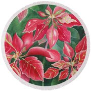 Poinsettia Magic Round Beach Towel