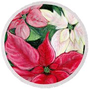 Poinsettia Pastel Round Beach Towel