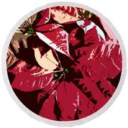 Poinsettia's Work Number 7 Round Beach Towel