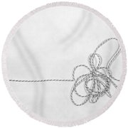 Point A To Point B Round Beach Towel