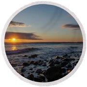 Point Allerton Sunrise - Nantasket Island Round Beach Towel